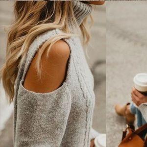Vici Gingerbread Cold Shoulder Turtleneck Sweater